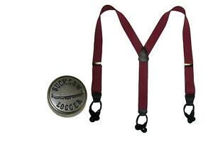 New CTM Men's Elastic Button-End Y-Back Suspender with Bachelor Buttons