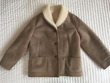 100% SHEEPSKIN SHEARLING REAL SUEDE LEATHER COAT JACKET CREAM LIGHT TAN SIZE M