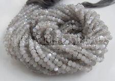 "13"" strand light GREY MOONSTONE faceted gem stone rondelle beads 3.5mm - 4mm"