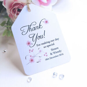 """Wedding Favour Luggage Tags Labels - Cherry Blossoms """"Thank You For Sharing"""""""