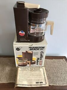 Vntg w/ Box Hamilton Beach Mini Drip CoffeeMaker Scovill 4 Cup 784 Brown U.S.A.