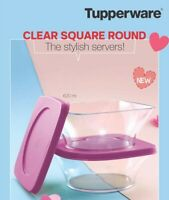 SET OF 2 X TUPPERWARE CLEAR SQUARE BOWLS CAPACITY OF 620 ML (AIR & WATER TIGHT)