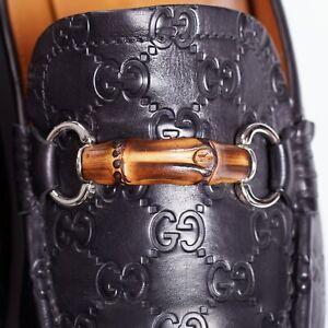 $1450 GUCCI MONOGRAM Leather Driver Shoes 11UK/12US/45EU CERTIFIED AUTENTIC