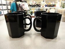 4 Arcoroc Luminarc France Black Octime Coffee Mugs Cups Octagonal 8 Sided