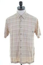 Aigle Mens Shirt Large Brown Check Cotton Slim Fit