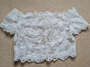 Wed2b Alexandra Beaded Wedding Jacket Size 12 Bridal Accessory Lace Sparkle