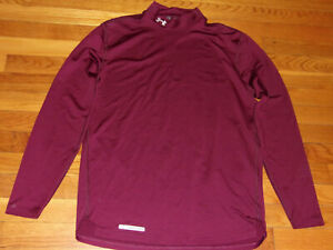 UNDER ARMOUR COLDGEAR LONG SLEEVE BURGUNDY MOCK FITTED JERSEY MENS LARGE NICE