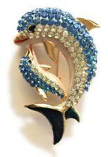 Rhinestone Dolphin Jewelry Brooch Pin New