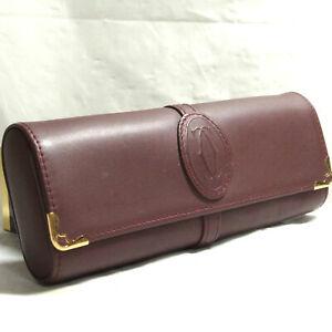 Authentic Must de Cartier Bordeaux Leather Eyeglass Case Vintage Made in Spain