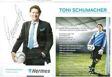 Toni Schumacher AK Werbekarte 1.FC Köln /Bayern  mit original Unterschrift