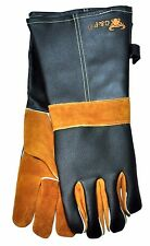 G & F 8113/5 BBQ Gloves Cowhide Leather Long Sleeve Cotton Lining 1 Pair