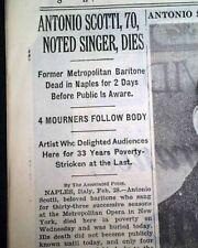 ANTONIO SCOTTI Italian Baritone Metropolitan Opera Fame DEATH 1936 NYC Newspaper