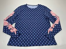 Lands End Long Sleeve Rash Guard Shirt Top Swim Tee Blue Large L Floral