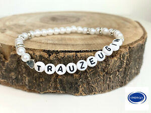 Trauzeugin Geschenk Armband  Brautjungfer Buchstaben Hochzeit Namensarmband
