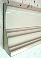 "Mexico Porcelain 8-1/2"" Ceramic Gloss Light Gray Baseboard 1 Wall Tile Trim Cap"