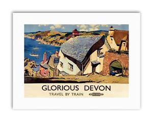 RAILWAY GLORIOUS DEVON VILLAGE ENGLAND UK NEW Poster Picture Travel Sport