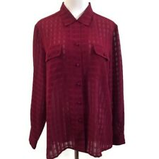 Liz Baker 14P Blouse Top Burgundy Semi Sheer Button Up Front Womens 14 Petite