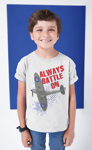 Dirty Fingers Kid's T-Shirt Spitfire Airplane RAF Battle of Britain Gift