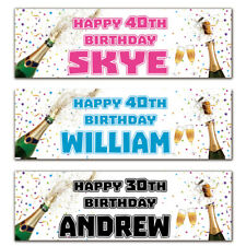 2 personalised birthday banner champagne party 18th 21st 30th 40th 50th 60th 70t
