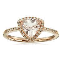 14k Rose Gold Morganite & Diamond Trillion Ring, Size 7