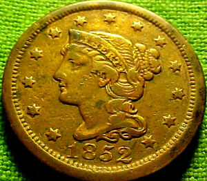 1852 Braided Large Cent 1c ~ NICE BRIGHT HIGHER GRADE COIN W/ SOLID DETAILS 81AJ