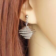 Damen Ohrhänger Edelstahl Ohrringe Ohrschmuck 1 Paar Butterfly-Verschluss silber