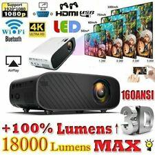 4K 1080P HD WiFi 3D LED Mini Video Theatre Projector Home Cinema 18000LM HDMI I