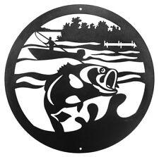 "Swen Products Fish Fishing Walleye Jumping Bass Steel 12"" Scenic Art Wall Design"