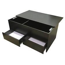 New Black Coffee Table Slide Top Storage Inside Separator 2 Drawers Living Room