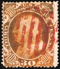 #38 30c Orange 1860 VF Used with Magenta Grid Cancel Rare