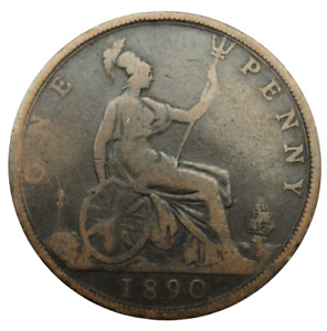 1890 Queen Victoria One Penny Coin - Great Britain