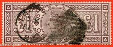 """SG. 185. K15. """" DA """". £1.00 brown - lilac. A Good used example."""