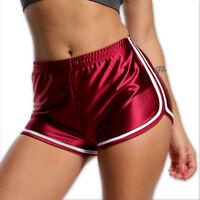 Summer Satin Pants Women Sports Gym Workout Waistband Skinny Yoga Shorts US M828