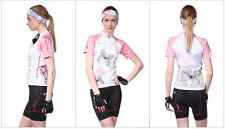 Damen Atmungsaktiv Radfahren Nuckily Radtrikot Fahrradtrikot Radlerhose Kurzarm