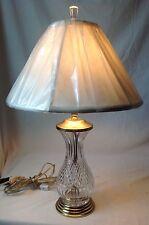 Royal Brierley Lead Crystal Table Lamp w Brass Base Hand Cut Stratford Pattern