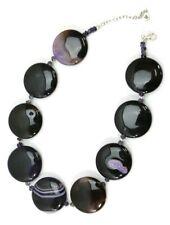 "Unique BLACK & PURPLE AGATE Discs 18"" Womens Necklace, w/925 STERLING SILVER"
