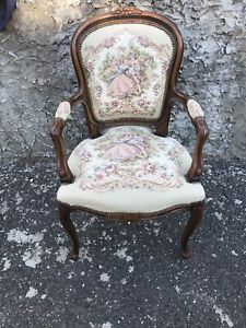 CHATEAU D'AX Italian Provincial Accent Arm Chair Needlepoint Seat & Back