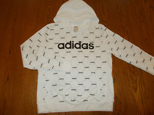 NEW ADIDAS WHITE PRINT HOODED SWEATSHIRT WOMENS MEDIUM