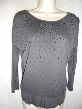 LADIES GREY WITH BLING NECK LINE H&M SIZE 158-164 BLOUSE USED