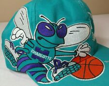 VTG Charlotte Hornets Hat Snapback Twins Enterprise 90's Big Logo NBA Script