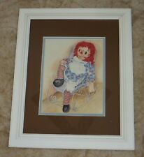 (2) Ava Freeman Signed Raggedy Ann & Raggedy Andy Framed Double Matted Prints