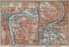 USTI NAD LABEM & DECIN areas. Podmokly Aussig Tetschen. Czech Republic 1929 map