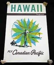 1950 Original Fly Canadian Pacific Hawaii Net Fisherman Poster (Hol)#31