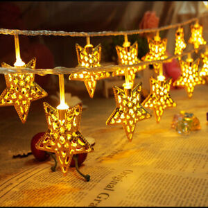 20 LED Battery Operated Fairy String Lights Metal Silver Star Xmas Wedding Party