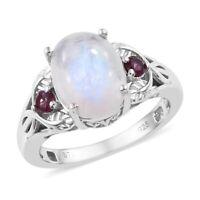 925 Sterling Silver Rainbow Moonstone Rhodolite Garnet Statement Ring Ct 3.7