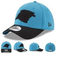 Carolina Panthers New Era NFL Black Out Logo 39THIRTY Flex Brim Fitted Hat Cap