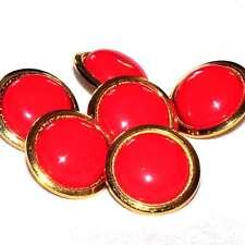 Mercerie Lot de 6 boutons métal doré et plastique rouge vermillon 18mm button