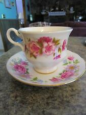 Queen Anne China Serenade Made in England pink rosees flowers - HYMLOT