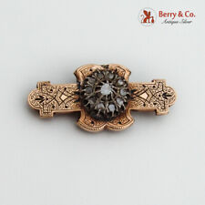 Antique Brooch Bar Watch Holder Victorian 14K Gold Enamel Rose Cut Diamonds