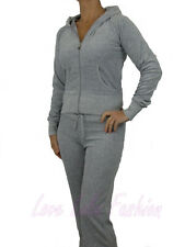 Womens Velour Tracksuit Brand New Full Suit Light Grey Size 8-10